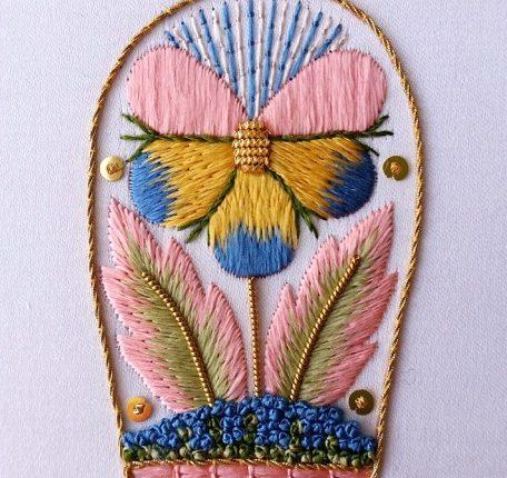 17th century silk pansy Kate Barlow